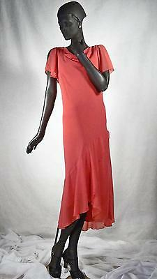 1930s Style Flapper Dress Coral Pink Chiffon Drop Deco Waist Sz 10 #1152