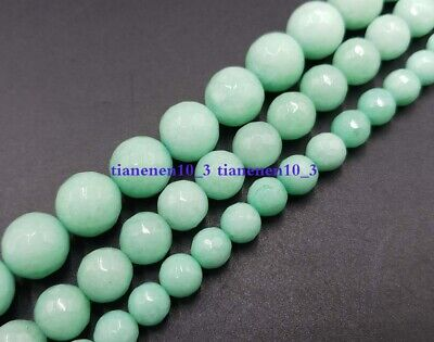 Natural 6mm 8mm 10mm Green Amazonite Gemstone Faceted Round Loose Beads 15''