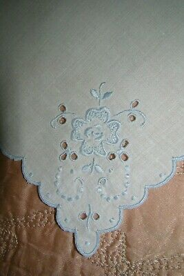 6 Vintage Linen Luncheon Napkins Cut Work French Knots Blue Embroidery Scalloped