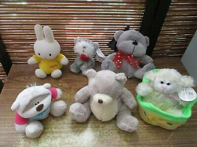 Collection of Six Small Soft Toy Teddy Bears & Animals, Miffy, Fizzy Moon, Lamb