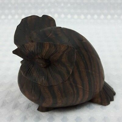 Dark Wood Carved Owl - Treen Vintage