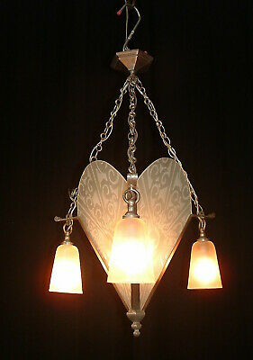 Antique French bronze silver color Art Deco chandelier glass shades France