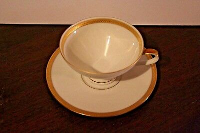 Beautiful Rare Coreling Fine China Forever Pattern Footed Cup Saucer Set Bavaria