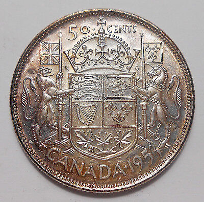 1953 LD SF Fifty Cents CH AU-UNC ** BEAUTIFUL 1st Queen Elizabeth II Canada Half