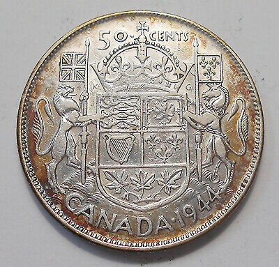 1944 Fifty Cents F ** Nicely TONED Better King George VI WWII Silver Canada Half
