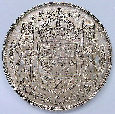 1939 Fifty Cents EF Beautiful HIGH Grade BETTER Date King George VI Canada Half