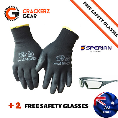 24 Pairs PU coated CrackerzGear work gloves Bigger Special BULK PPE size Large