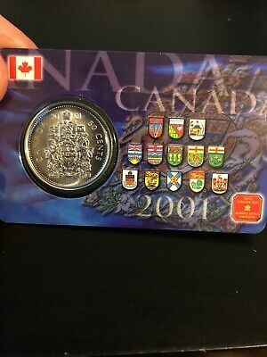 2001 Canada Fifty 50 Cent Coin Sealed On Plastic Card