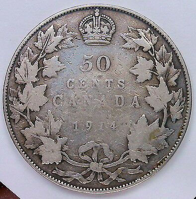 1914 Fifty Cents VG Scarce Date LOW Mintage KEY Early King George V Canada Half
