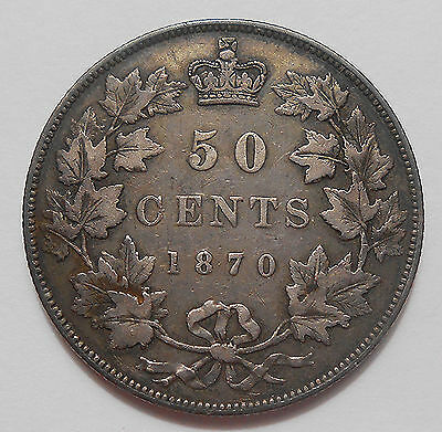 1870 LCW Fifty Cents VF * HIGH Grade SCARCE 1st Queen Victoria & Canada KEY Half