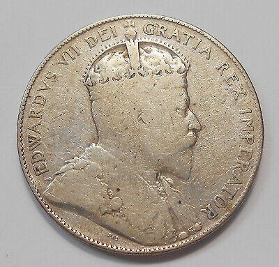 1906 Fifty Cents VG+ Nice Scarce Date LOW Mintage King Edward VII Canada Half