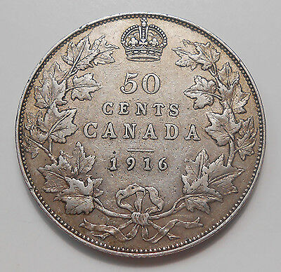 1916 Fifty Cents EF * BEAUTIFUL Better Date HIGH Grade King George V Canada Half
