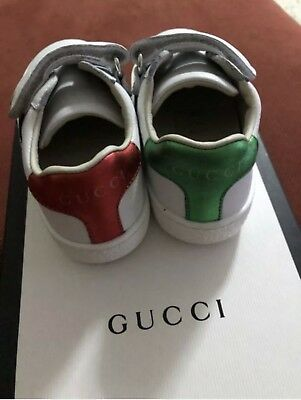 38fb3671cb1 GUCCI Baby Infant Kids White Leather Sneakers Shoes Size 21 100% Auténtic