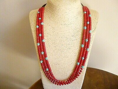 Native American Navajo Necklace Red Coral And Turquoise With  Sterling Silver