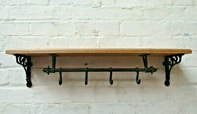 Solid Oak Wooden Shelf Rustic Cast Iron Brackets & Kitchen Pot Pan Hooks Rail