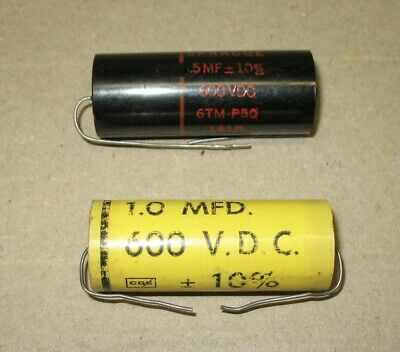 Lot of 2 NOS CDE (1MF) & Sprague Black (.5MF) 600 VDC Capacitors