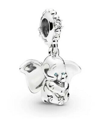 💎🎀 Sterling Silver 925 Disney Dumbo Elephant Dangle Charm & Pouch Moving Ears