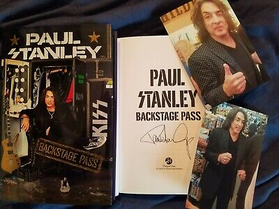 PAUL STANLEY SIGNED book Backstage Pass AUTOGRAPHED KISS + 4x6 Event Photos !