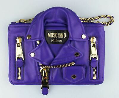 5dad8eae5dd17 NWT MOSCHINO Purple Leather Mini Motorcycle Jacket Clutch Wristlet Bag $1395