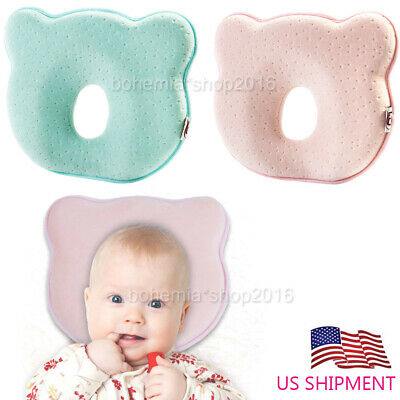 Newborn Infant Baby Pillow Prevent Flat Head Memory Foam Cushion Anti Roll