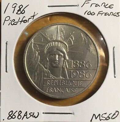 THICK DOUBLE SILVER PIEDFORT 1986 France 100 Francs Statue Of Liberty Coin