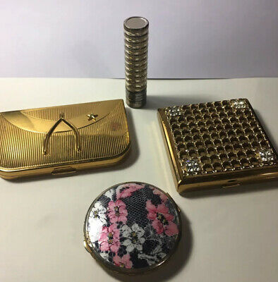 3 Vintage Old Makeup Items 2 Compacts One Lipstick Collectors Antiques