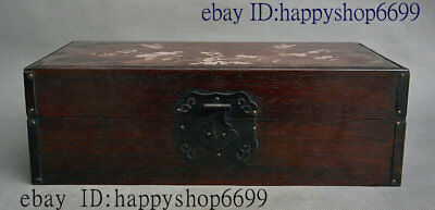 Old China Huang Huali Wood Inlay Shell Flower Bird Storage Jewelry Chest Bin Box