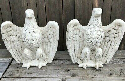Reconstituted White Stone Pair of Gate Pier Eagles - spread eagle