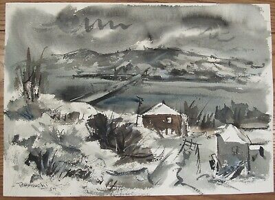 1954 Paul Horiuchi watercolor painting landscape double sided 15x21