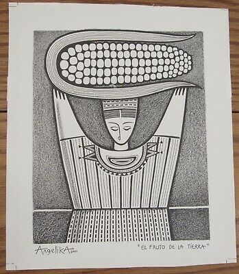Original ink drawing El Fruto de la Tierra corn Earth Mother Angelika 2001 9x10