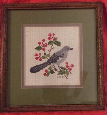 Bird on Branch Finished and Framed Cross Stitch 10'x10'