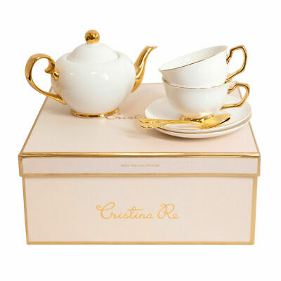 GENUINE Cristina Re Tea Set for Two With 24 Karat Gold Detail Superfast Shipping