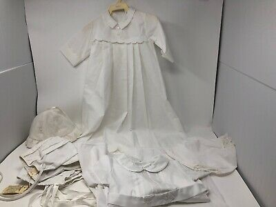 Vintage Baby White CHRISTENING Outfits, Bloomers & Cap S Union Made 9 Mo