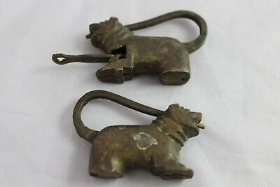 2 Vintage Lock Key Figural Dog Brass Bronze Chinese Cabinet Furniture Box
