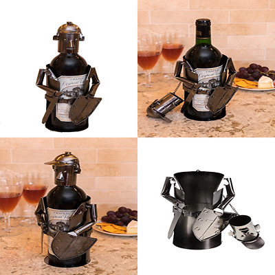 Premium Knight Metal Wine Bottle Holder Decorative Stainless Steel Design Fits A