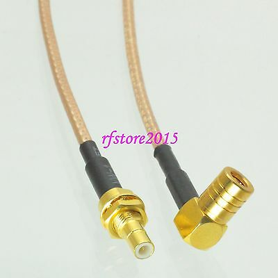 Cable RG316 6inch SMB male bulkhead to SMB female jack 90° RF Pigtail Jumper