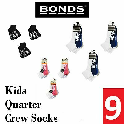 9 BONDS KIDS QUARTER CREW SOCKS Boys Girls Sport School Black White Pink Blue