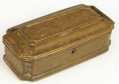 """Antique Fine Etched Brass Tea Caddy Or Snuff Box Very Old Clasp Chinese ? 5"""" !"""