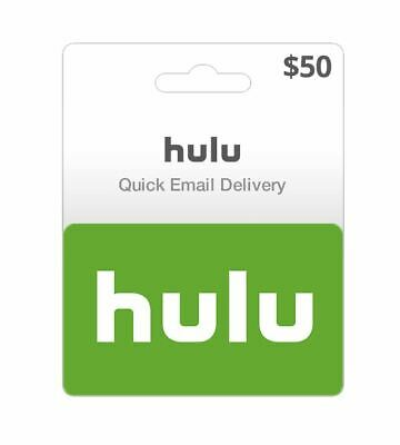 Hulu $50 Value Gift Card USA Nationwide - Same Day Ultrafast Delivery SALE