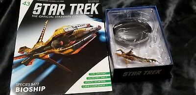 #43 Star Trek Spec 8472 Bioship Die Cast Metal Ship-UK/Eaglemoss w Mag