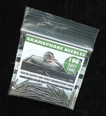 New British-Made Gramophone Needles, Soft Tone, Packs Of 100