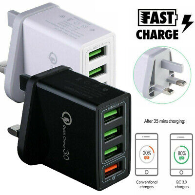 4 Multi-Port Fast Quick Charge QC 3.0 USB Hub Wall Charger Adapter UK Plug Z