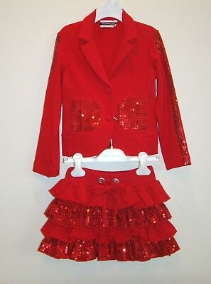 MONNALISA Girls Red Set 6 Y  Jacket and skirt Sequined