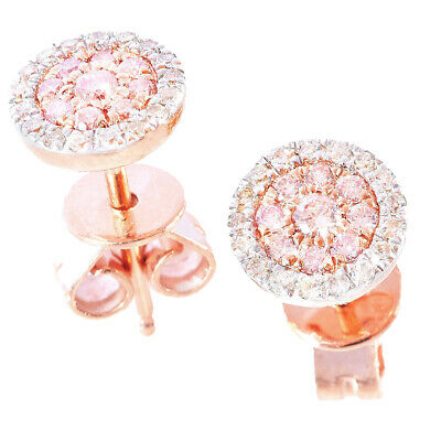 14 Karat Rose Gold Argyle Pink Diamond Ear Studs