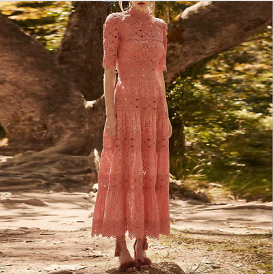 2019 Spring round neck womens lace hollow out graceful long lady dress slim fit