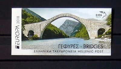 GREECE, GREEK STAMPS 2018 9th set, europa cept bridges, booklet, MNH