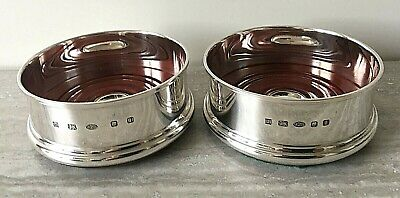 """Hallmark Silver Classic 3.5"""" Wine Coasters by Hersey & Sons London - Pair Boxed"""