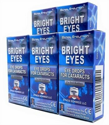 Ethos Bright Eyes Natural Eye Drops That Dissolve Cataracts 5 Boxes 50ml