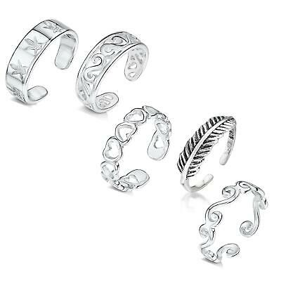 Amberta Real 925 Sterling Silver Adjustable Toe and Midi Rings for Women Italy