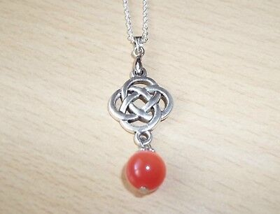 TIBET SILVER CHINESE KNOT PENDANT WITH RED CAT EYE DROPLET & 18inch CHAIN